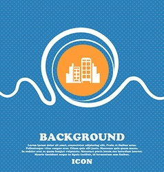 Buildings icon sign blue and white abstract vector