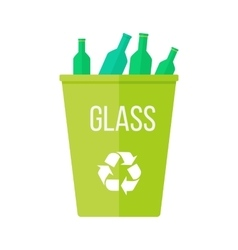 Green recycle garbage bin with glass vector