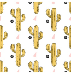 Cactus seamless pattern  hand drawn desert plant vector