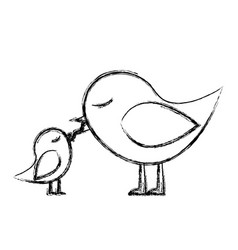 Monochrome sketch of bird feeding a chick vector