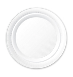 Disposable plastic plate isolated on white vector