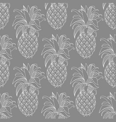 Pineapples contour pattern on a gray background vector