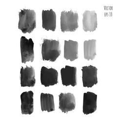 Set of dark black watercolor hand painted texture vector