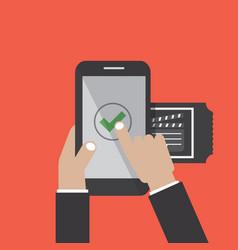 Smartphone with online buy cinema ticket order vector