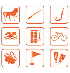 Set of sport equipment icons vector