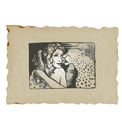 Underground comix lady with leopard vector