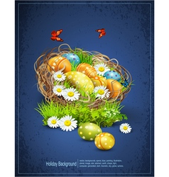 Easter background with eggs and nest vector image