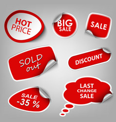 Red collection stickers sale discount template vector image