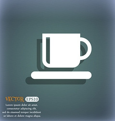 Coffee cup icon symbol on the blue-green abstract vector