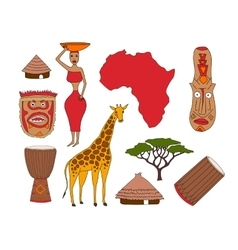 Set of african symbols vector