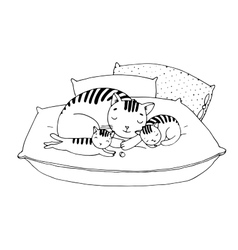 Cute cartoon cats on cushions vector