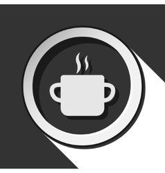 Icon - cooking pot with smoke and shadow vector