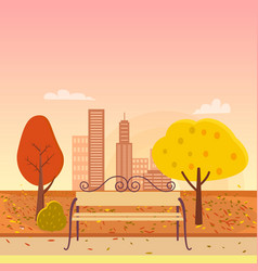 autumn park and bench vector image vector image