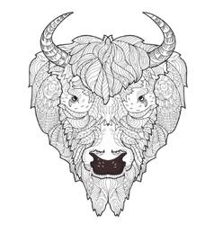 Bison head doodle vector