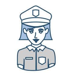 Blue silhouette with half body of policewoman vector