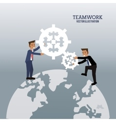 Businessmen global cooperation gear graphic vector