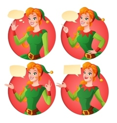 Cartoon Christmas elf girl in different poses vector image