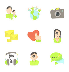Communication in internet icons set cartoon style vector