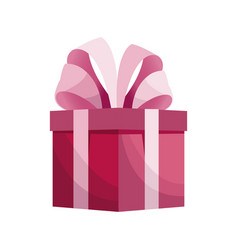 Cute gift box pink with bow vector