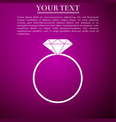 diamond engagement ring icon on purple background vector image