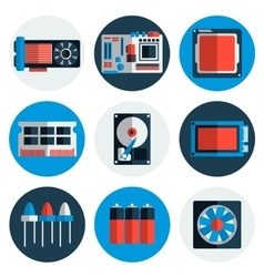 Electronic parts flat icons vector image