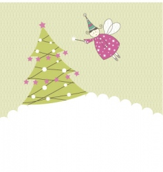 greeting card with angel vector image vector image