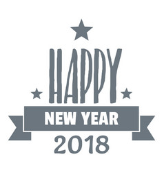 happy new year lettering logo simple gray style vector image