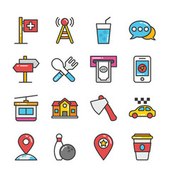 hotel and travel colored icons set 9 vector image