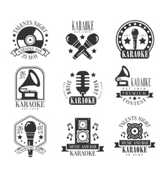 Karaoke Bar Black And White Label Set vector image vector image