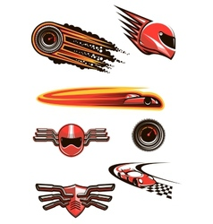 Motorcycle and car racing symbols vector image vector image