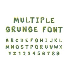 Multiple bright colors grunge font alphabet on vector image
