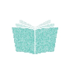 opened book icon from green points vector image