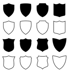 set of silhouettes and outlines of shields vector image vector image