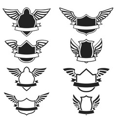 set of the empty emblems with wings design vector image vector image