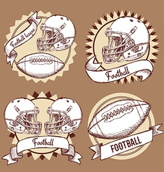 Sketch football logotypes in vintage style vector image vector image