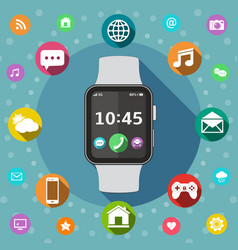 Smart watch with icons flat design concept vector