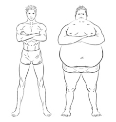 Two different men fat skinny and muscular hand vector