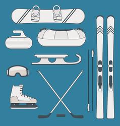 winter sports and activities equipment vector image