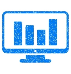 Bar chart monitoring grainy texture icon vector