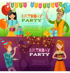 Birthday party 2 festive horizontal banners vector