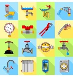 Plumber symbols icons set flat style vector