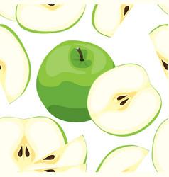 seamless green apple pattern tile vegetarian vector image