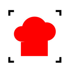 Chef cap sign red icon inside black focus vector