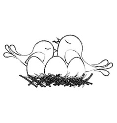 Monochrome sketch of bird in nest with eggs and vector
