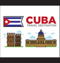 Cuba travel famous landmarks and sightseeing vector