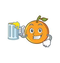 Orange fruit cartoon character with juice vector