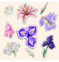 Flower stickers tender colors hand drawn in vector