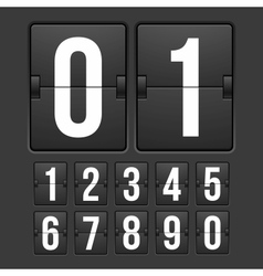 Countdown timer white color mechanical scoreboard vector