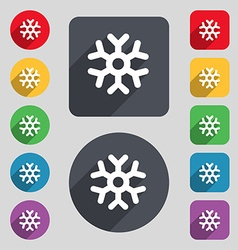 Snowflake icon sign a set of 12 colored buttons vector