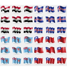 Iraq iceland fiji myanmarburma set of 36 flags of vector